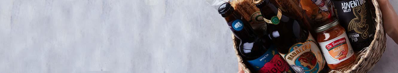 Cestas e Kits com Cervejas, petiscos e copos para Entrega.
