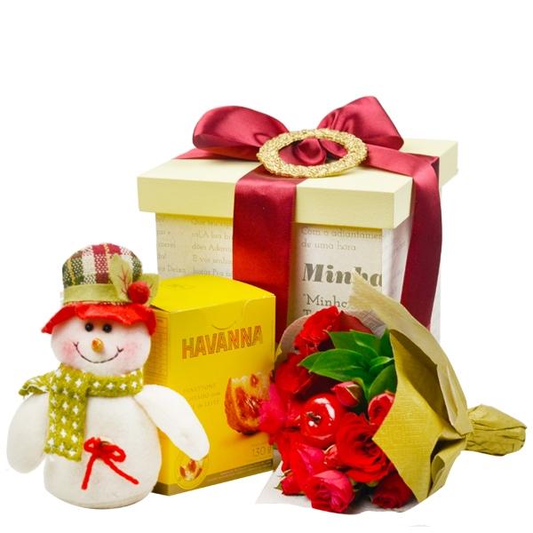 Caixa de Natal com Arranjo de Flores, Panetone Havanna e Boneco de Neve