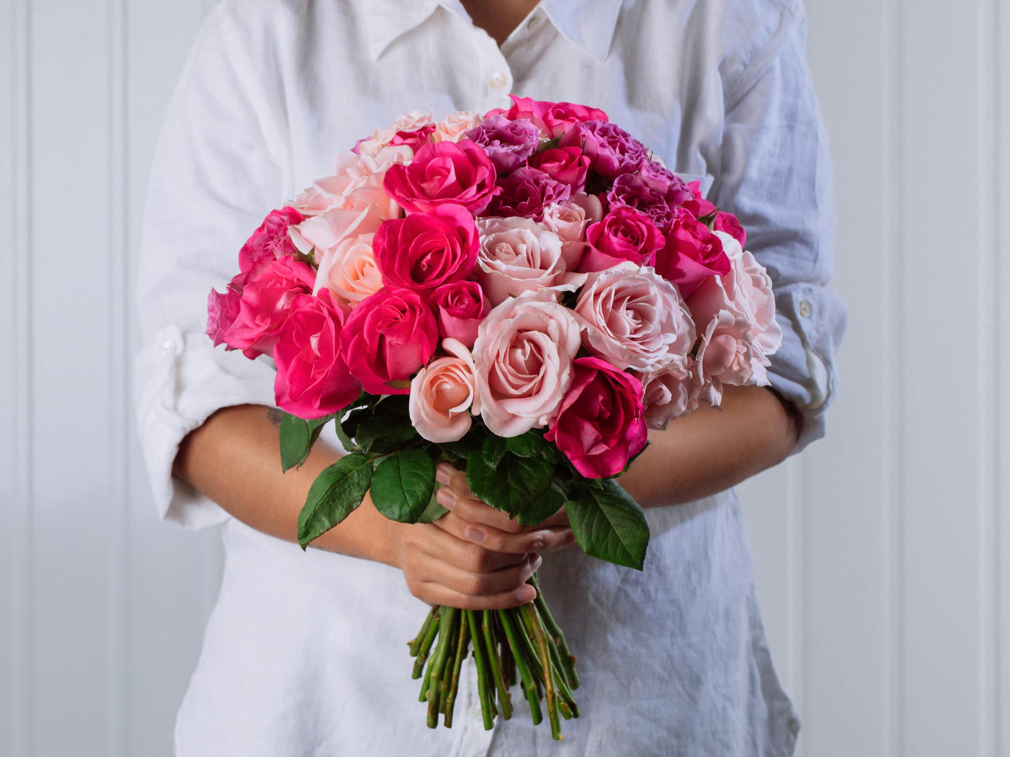 Buquê de Rosas Rosadas e Pink Nacionais Para Entrega
